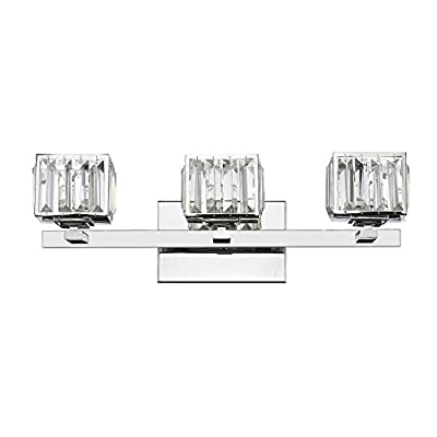 "Chloe Lighting CH820038CM21-BL3 Contemporary 3 Light Chrome Finish Crystal Globe Bath Vanity Wall Fixture 21"" wide"