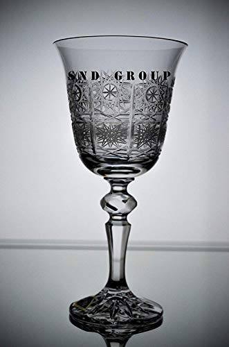 BOHEMIAN CRYSTAL GLASS WINE GLASSES 8 oz./250 ml. SET of 6 HAND CUT VINTAGE LACE DESIGN STEM GOBLETS for WINES RED WHITE or WATER CLASSIC CZECH CRYSTAL GLASS ()
