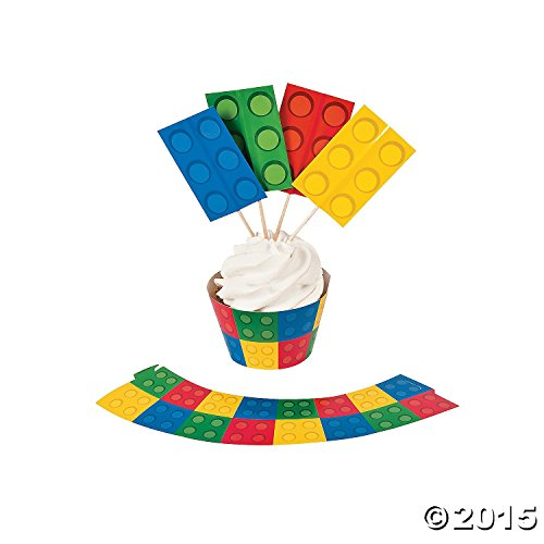 Color Building Brick Party Cupcake Wrappers with Picks (100 Pack)