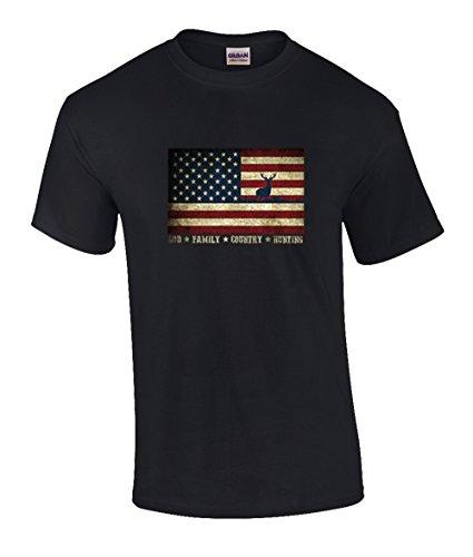 - Trenz Shirt Company Patriotic Christian God Family Country Hunting American Flag T-Shirt-Small