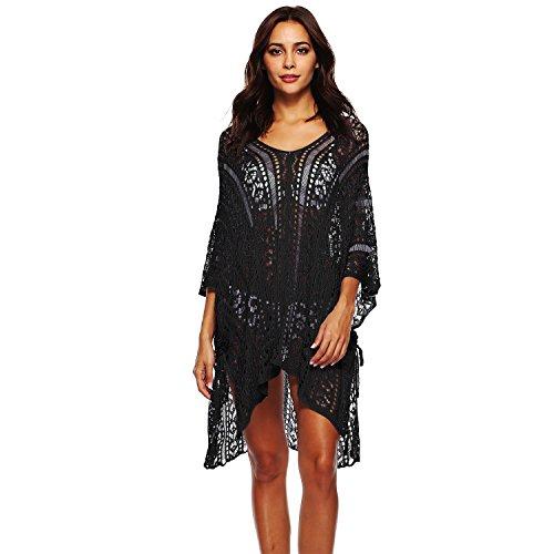(ZaYang Women's Summer Swimsuit Bikini Beach Swimwear Crochet Cover up Net (Slit Black))