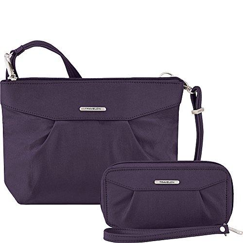 (Travelon Anti-Theft Crossbody and RFID Clutch - Small Handbag & Wallet Set for Travel & Everyday - (Purple/Gray Interior))