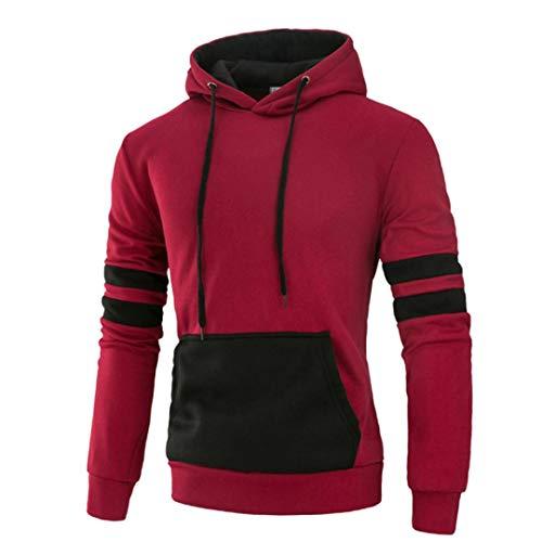 - kaifongfu Sweatshirt,Men's Hoodies Long Sleeve Splicing Pocket Casual Sweatshirt Tops Autumn Winter(RedL)