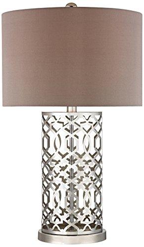"Diamond Lighting D337 Dimond Lighting Laser Cut Metal Table Lamp, 18"" x 18"" x 30"", Polished Nickel"