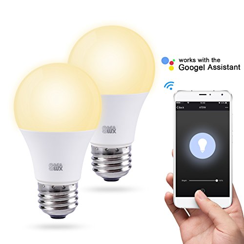 Smalux WiFi Smart LED Light Bulb,Work with Amazon Alexa/Google Home Assistant, Warm White 800lm Dimmable Smart Home Lighting Bulb,9W A19 E26 Voice Remote Control Bulb,Timer Function,No hub Required by Smalux