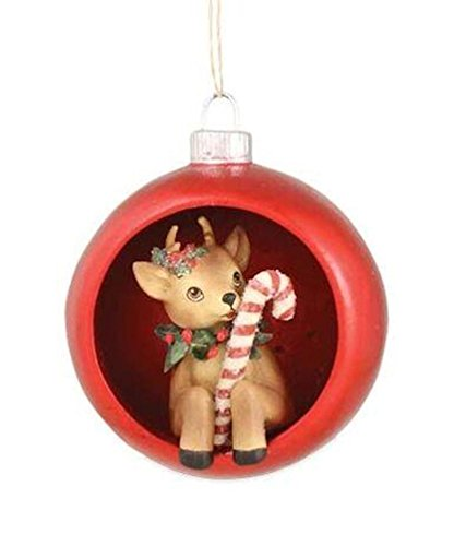 Bethany Lowe Retro Reindeer Deer with Candy Cane Diorama Ornament, 4