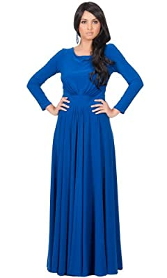 KOH KOH Womens Long Sleeve Flowy Empire Waist Fall Winter Party Gown Maxi Dress