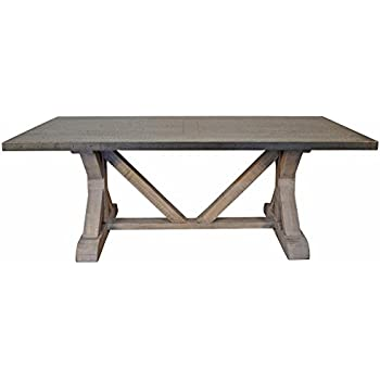 Duane Industrial Loft Zinc Top X Base Rectangular Dining Table