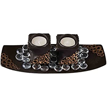 Black and Copper Theme Contains 2 Spiraled Tealight Holders Fits Any Standard Tealight Modern Tabletop Tea Light Set Beautiful Modern Design Glass Beads Included with Tealight Tray