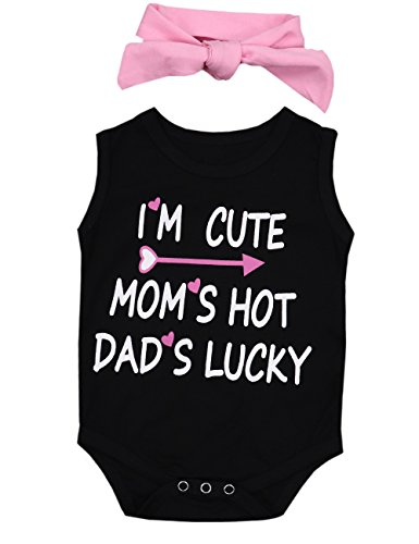 Doding Newborn Baby Girls Infant Sleeveless Rompers Jumpsuit Bodysuit Outfits Clothes with Headband(3-6 Months)