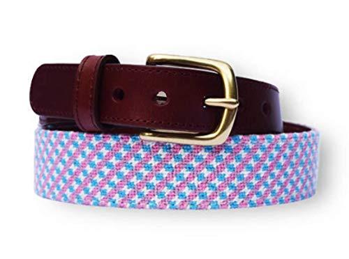 (Baldwin Belts Women's Needlepoint Belt - Cotton Candy Pattern -pink, blue and white (33