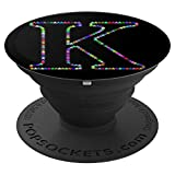 PopSockets Grip K Initial Stars Monogram Capital Letter Art - PopSockets Grip and Stand for Phones and Tablets