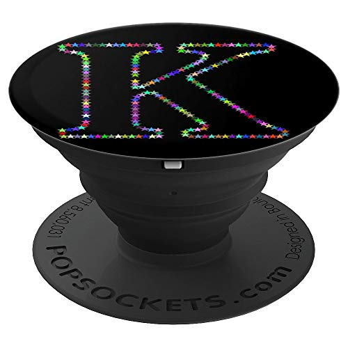 PopSockets Grip K Initial Stars Monogram Capital Letter Art - PopSockets Grip and Stand for Phones and Tablets by Beautiful Color Star Alphabet Design Background