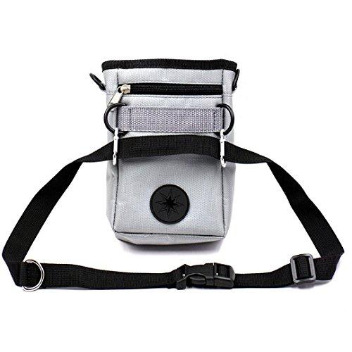 Monique Professional Pet Dog Treat Oxford Fanny Pack Bag Waist Bag with Adjustable Belt Grey