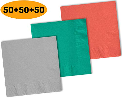 , Shimmering Silver, Teal, Coral - 50 Each Color. 2 Ply Paper Cocktail Napkins. 5