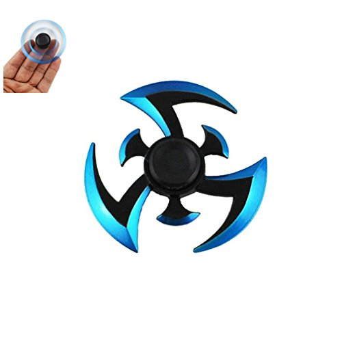 Newest Alloy Tri-Spinner Hand Spinner Spinner Fidget Toy New Style Gfits Toys , EDC ADHD Focus Stress Reducer Relieve Anxiety Autism (B Blue)