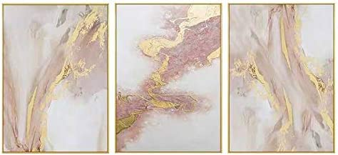 Framed 3 Panel Canvas Wall Art Pink Gold Abstract Oil Painting Water Flow Shape Modern Home Decor Ready to Hang 28×60 inches