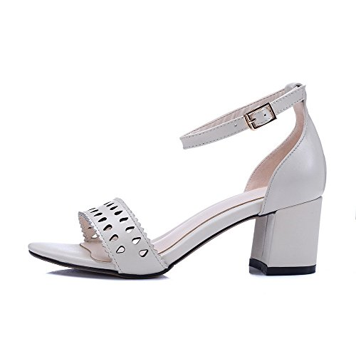 Amoonyfashion Donna Solido Materiale Morbido Gattini Con Fibbia Open Toe Sandali Beige