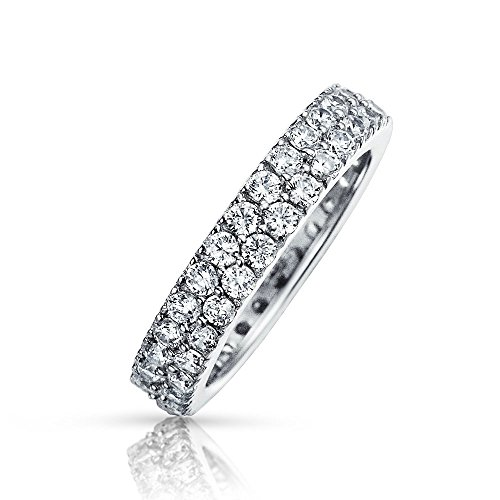 Simple 2 Row Pave Cubic Zirconia CZ Anniversary Wedding Band Ring For Women 925 Sterling Silver ()