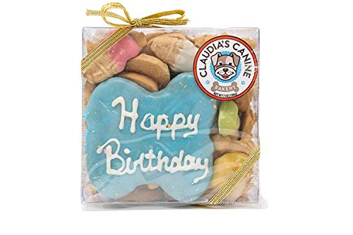 Claudia's Canine Bakery, Happy Birthday Gift Assortment Dog Cookies | Blue, Vanilla Flavor, Gourmet Dog Treats| No Preservatives, No Animal By-Products, No Fillers | Made in the USA | Net -