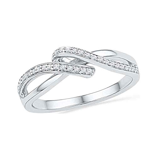 10kt White Gold Womens Round Diamond Crossover Band Ring 1/8 Cttw ()