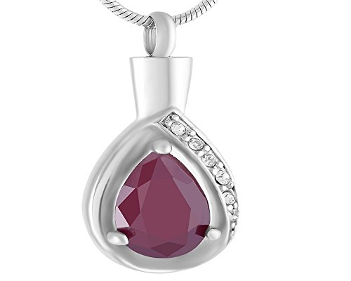 Laceta's Keepsakes Teardrops Of Memorial Cremation Urn Jewelry Necklace Pendant Ashes Remembrance (Purple) (Hand Engraved Solid Cross)