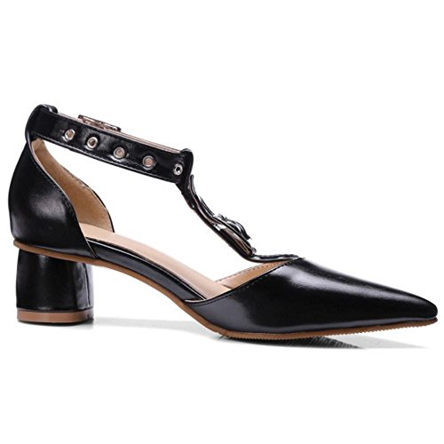 TAOFFEN T Sandals Buckle Strap Block Heel Toe Pointed Classical Women Black Closed RqwvXrR