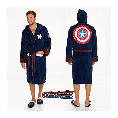 Captain america Logo Bathrobe Multicolour Polyester Blue One Size Groovy