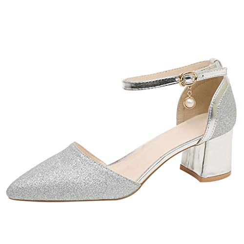 Toimothcn Women's High Chunky Heel Dress Sandals Pointed Toe Buckle Strap Bridesmaid Wedding Shoes(Silver1,US:6.5)