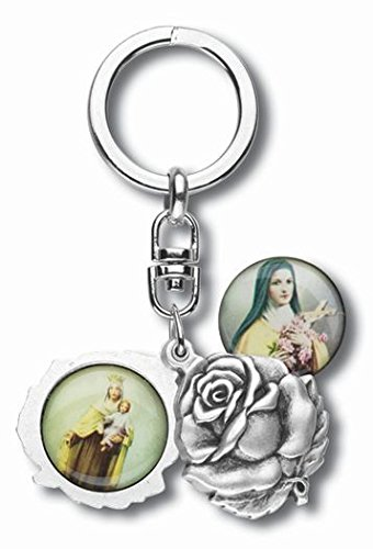 (Silver Tone Saint Therese with Our Lady Mt Carmel Sliding Rosebud Medal Key Chain, 1 3/4 Inch)