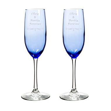 2 Engraved Wedding Blue Glass Champagne Flutes Personalized Toasting Glasses