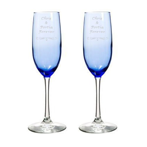 Personalized Toasting Glasses - 2 Engraved Wedding Blue Glass Champagne Flutes Personalized Toasting Glasses