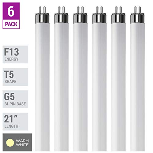 (Pack Of 6) F13T5/WW - T5 Fluorescent 3000K Warm White - 13 Watt - 21