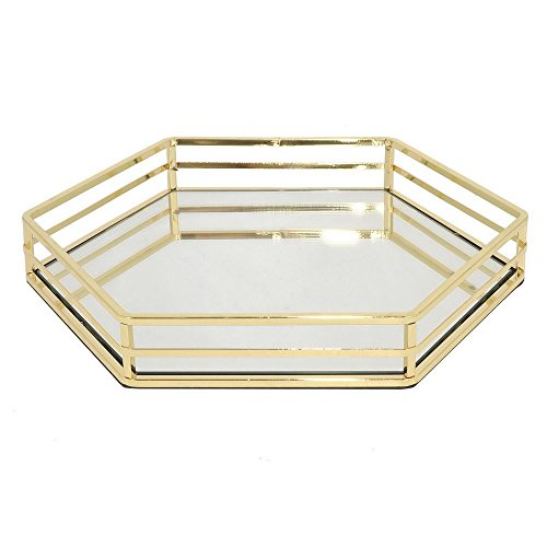 Benzara HRT-29571 Benzara 14'' Golden Metal Tray with Mirror by Benzara