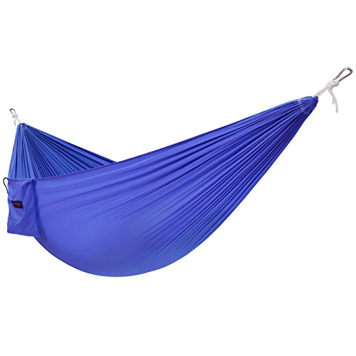 Price comparison product image Yes4All Single Lightweight Camping Hammock with Carry Bag – Nylon Parachute Hammock / Lightweight Portable Hammock for Camping, Hiking (Blue)