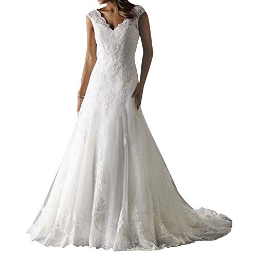 Wedding Dress Lace Bridal Gown V Neck Bride Dresses Sleeveless Ivory