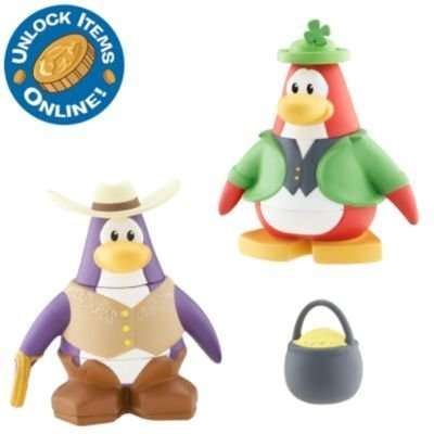 (Disney Club Penguin Series 3 Mix 'N Match Mini Figure Pack Leprechaun and Cowboy (Includes Coin with Code!) )