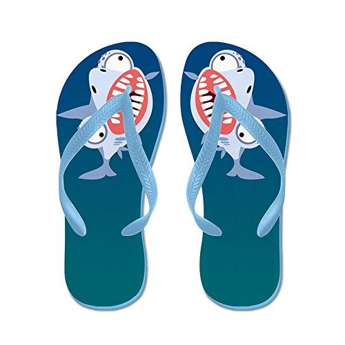Cafepress Gekke Haai - Flip Flops, Grappige String Sandalen, Strand Sandalen Caribbean Blue