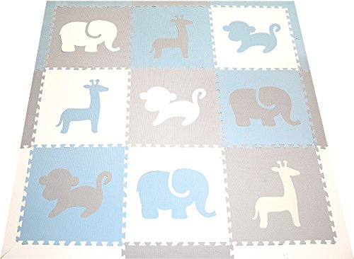 SoftTiles Foam Play Mat- Safari Animals- Interlocking Foam Puzzle Mat for Kids, Toddlers, Babies Playrooms/Nursery 6.5'x6.5' (Light Blue, Light Gray, White) SCSAFWSH ()