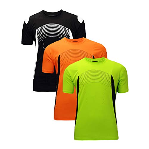 ZITY Men's Dry Fit Mesh Athletic Shirts 3 Pack Green Orang Black L