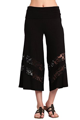 HEYHUN Plus Size Womens Wide Leg Gaucho w Lace, Navy, 3XL