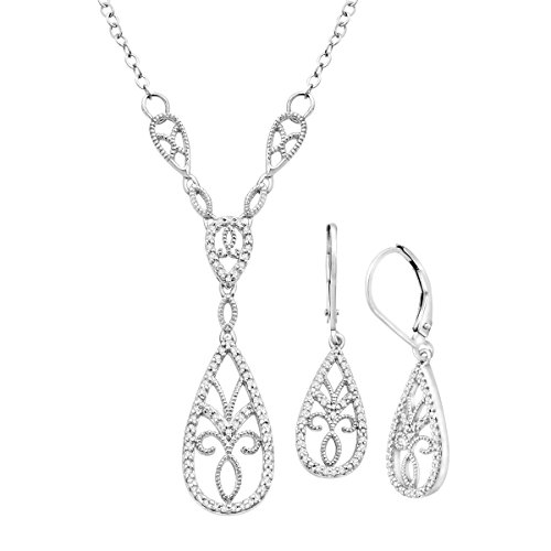 1/3 ct Diamond Necklace & Earring Set in Sterling Silver by Finecraft