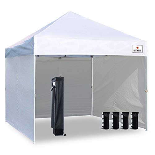 Keymaya 10'x10' Ez Pop Up Canopy Tent Commercial Instant Shelter with 4 Removable sidewalls Bonus Weight Bag 4-pc Pack,(White)
