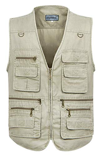 Gihuo Men's Casual Outdoor Work Pockets Fishing Photo Journalist Denim Vest (XXX-Large, Beige)