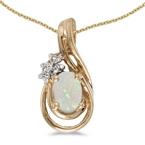 14k Yellow Gold Oval Opal And Diamond Teardrop Pendant with 18'' Chain by Direct-Jewelry