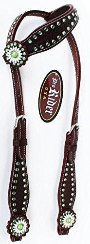 PRORIDER-Horse-Saddle-Tack-One-Ear-Bridle-Western-Leather-Headstall-Brown-Lime-Grn-78182B