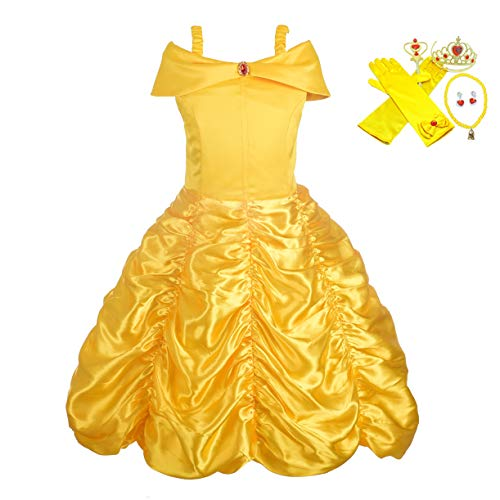 Lito Angels Girls' Princess Belle Dress Up Costumes Halloween Costume Fancy Dress with Accesories Size 18-24 Months
