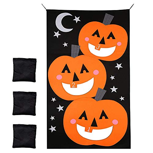 THE TWIDDLERS Halloween Hanging Bean Bag Toss Game - Set of 3 Bags | Halloween Game Toddler Bean Bag Toss | Pumpkin Bean Bag Games for Kids