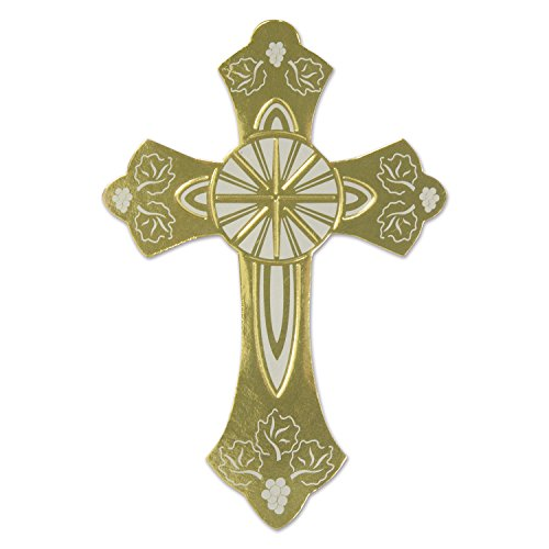 Beistle 54286-GD Foil Cross Silhouette, 6-1/2-Inch, Gold