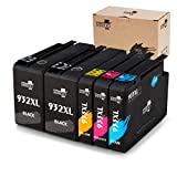 MIROO Replacement for HP 932 933 XL Ink Cartridges Combo (2 Black 1 Cyan 1 Magenta 1 Yellow), Compatible with HP Officejet 6700 6600 7612 6100 7610 7110 Printer
